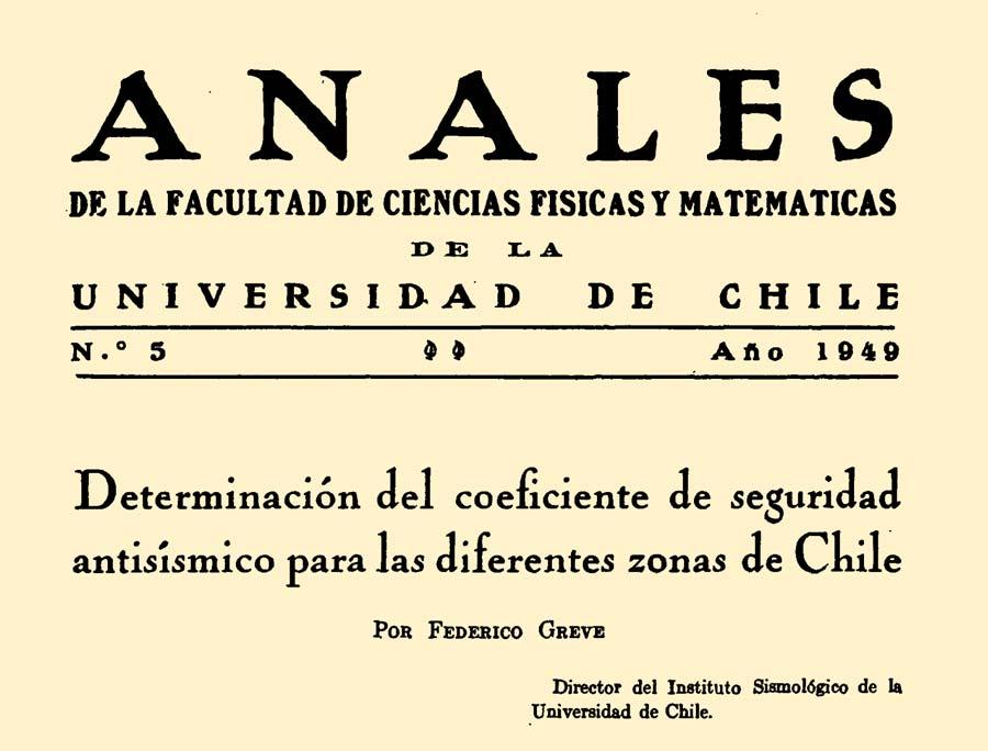"""Publicación de la """"Determinación del coeficiente de seguridad antisísmico para las diferentes zonas de Chile""""."""